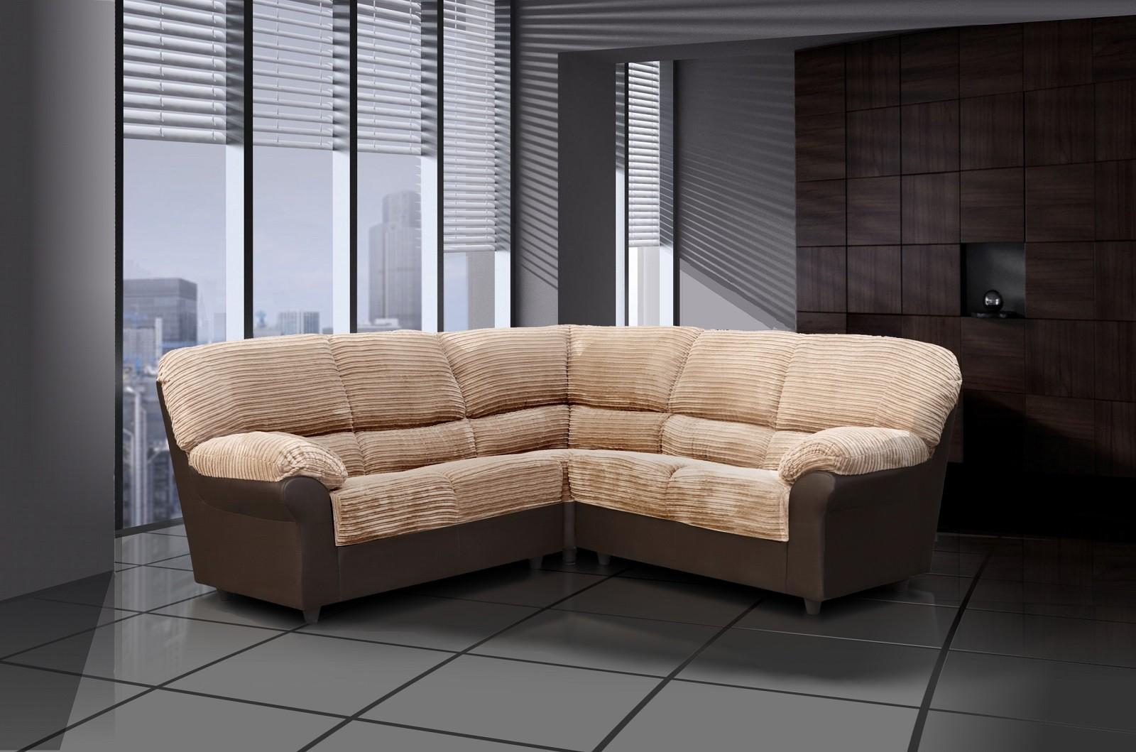 Candy Corner Sofa in Brown/Cream Fabric