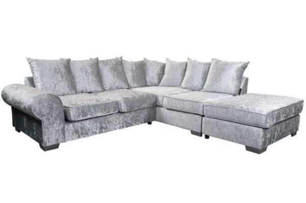 Royal Right Corner Sofa in Silver Crushed Velvet