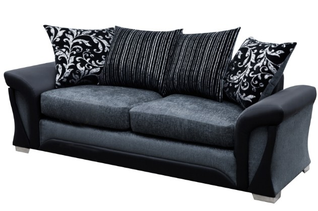 shannon 3 seater black/grey