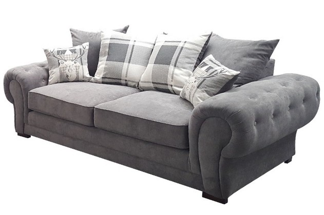 verona 3 seater graphite scatter back