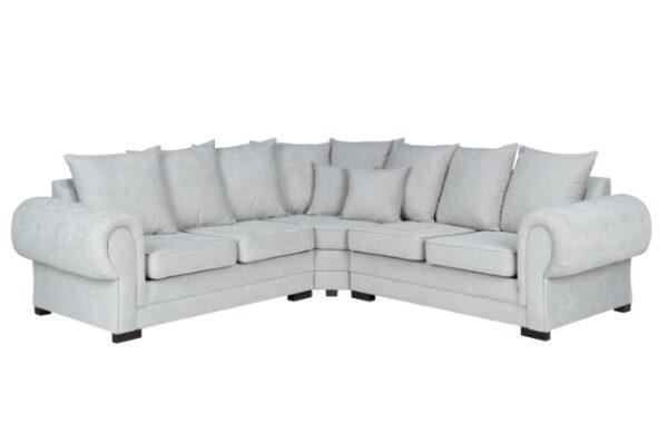 santana corner sofa scatter back in silver fabric