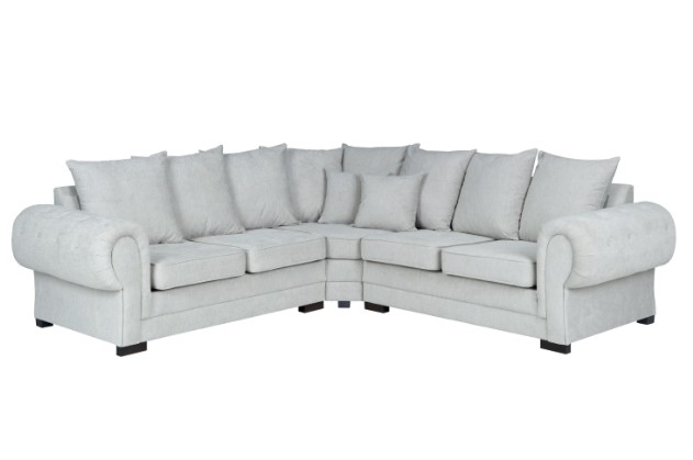 santana corner sofa scatter back in silver fabric